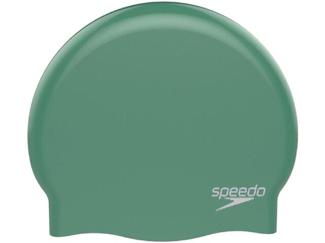 speedo Plain Moulded Silicone Cap Barn green/white